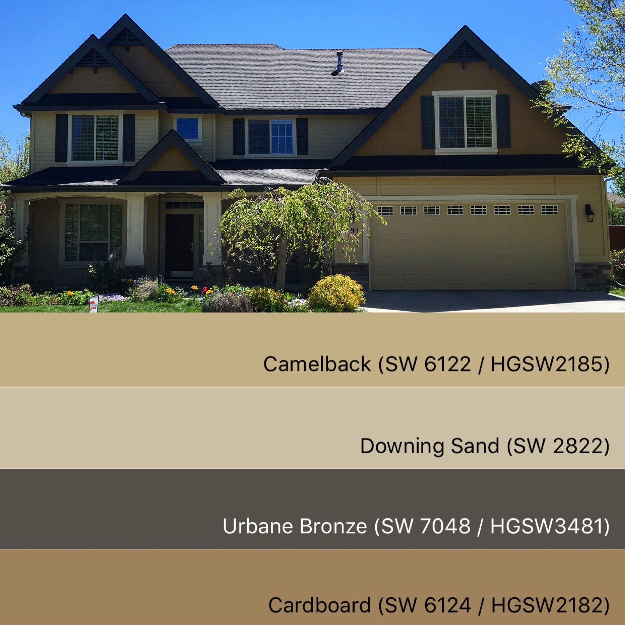 Taupe Exterior House Color Ideas: Sherwin Williams Paint Colors: Camelback 3481, Downing