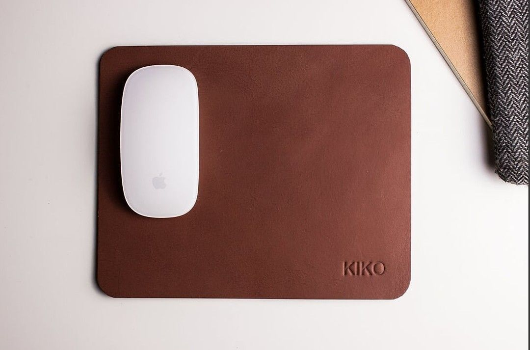 Made from brown cowhide leather and a non-slip suede backing, @kikoleather offers a durable mouse pad perfect for the office or home! #sportique #sportiquesf #discovercuration #kikoleather