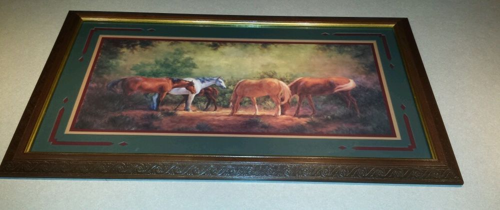 Vintage Home Interior Framed Picture Horses In Field Beautiful Detailed Frame Vintage House Picture Frames Pictures