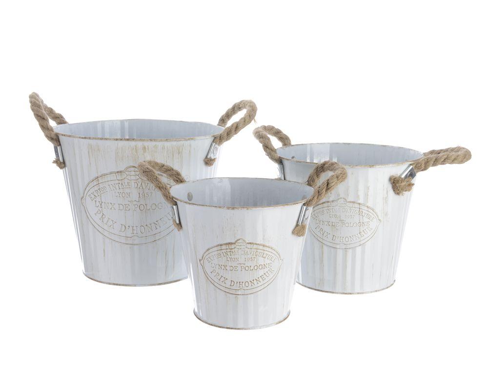 Lot De 3 Seaux En Zinc Blanc Anses En Corde D20xh17cm Seau Corde Anse