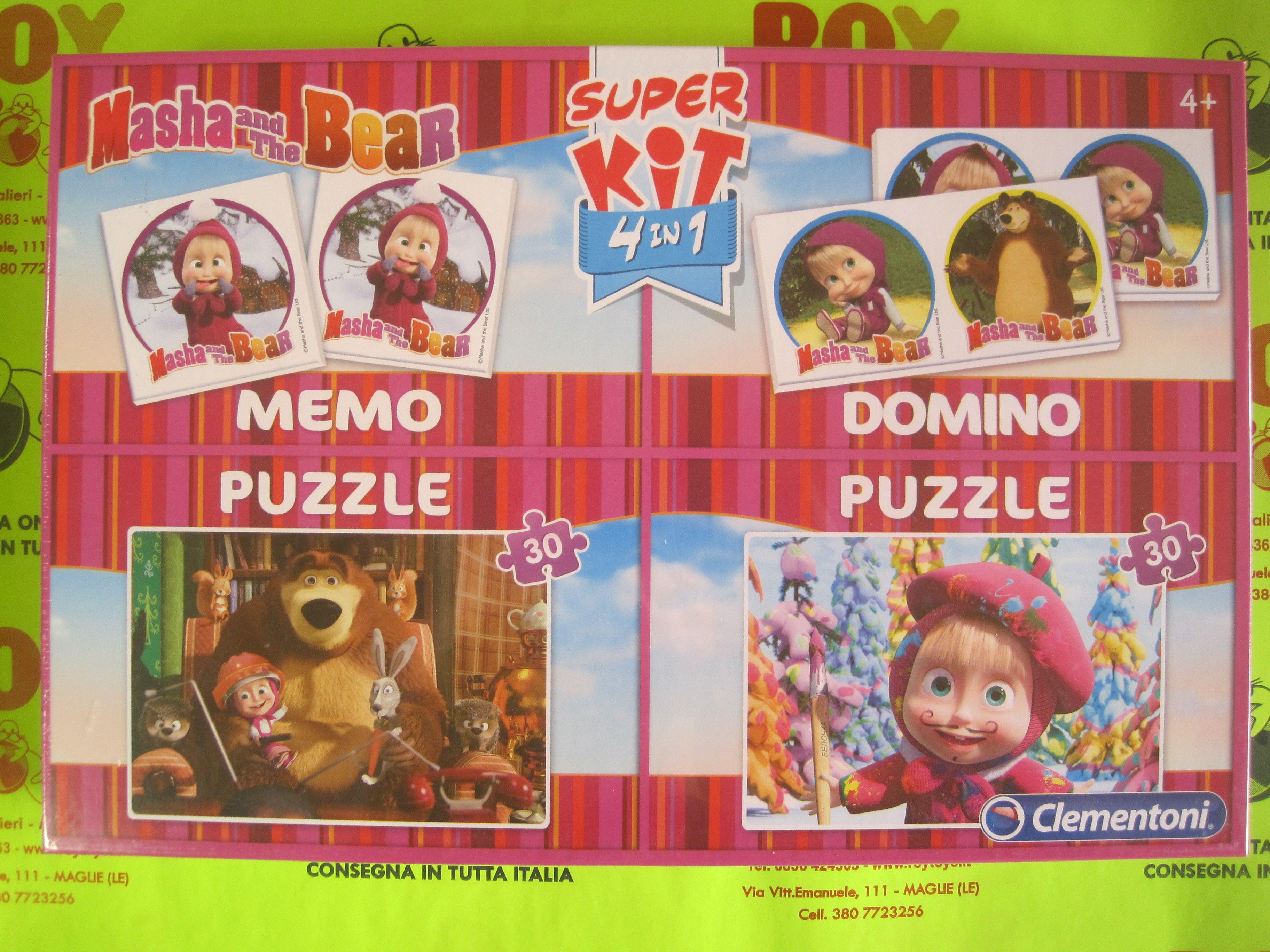 Super Kit 4 in 1: Memo + Domino + 2 Puzzle Masha and the Bear
