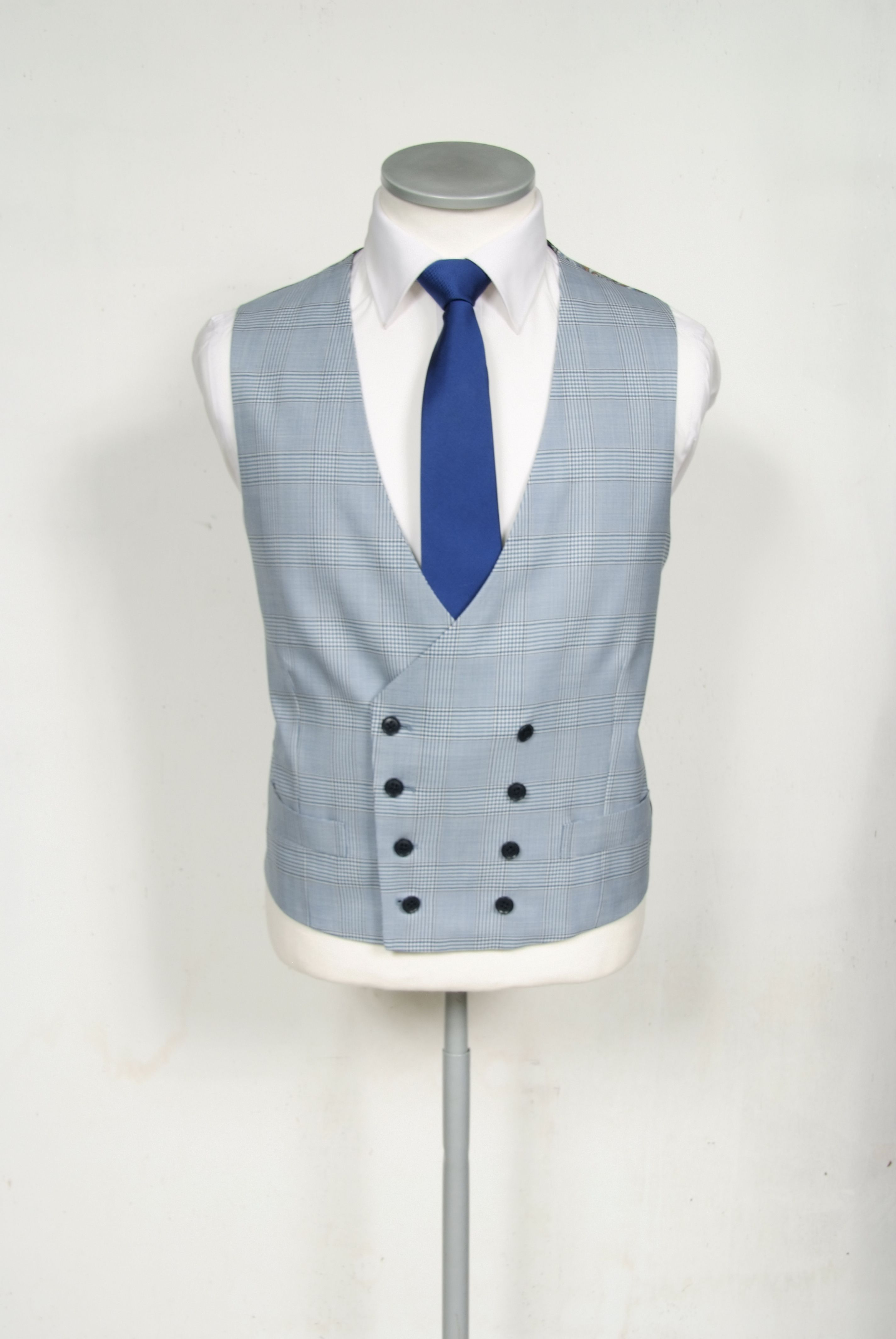 Pale blue Prince of Wales check pure wool made to measure wedding ...