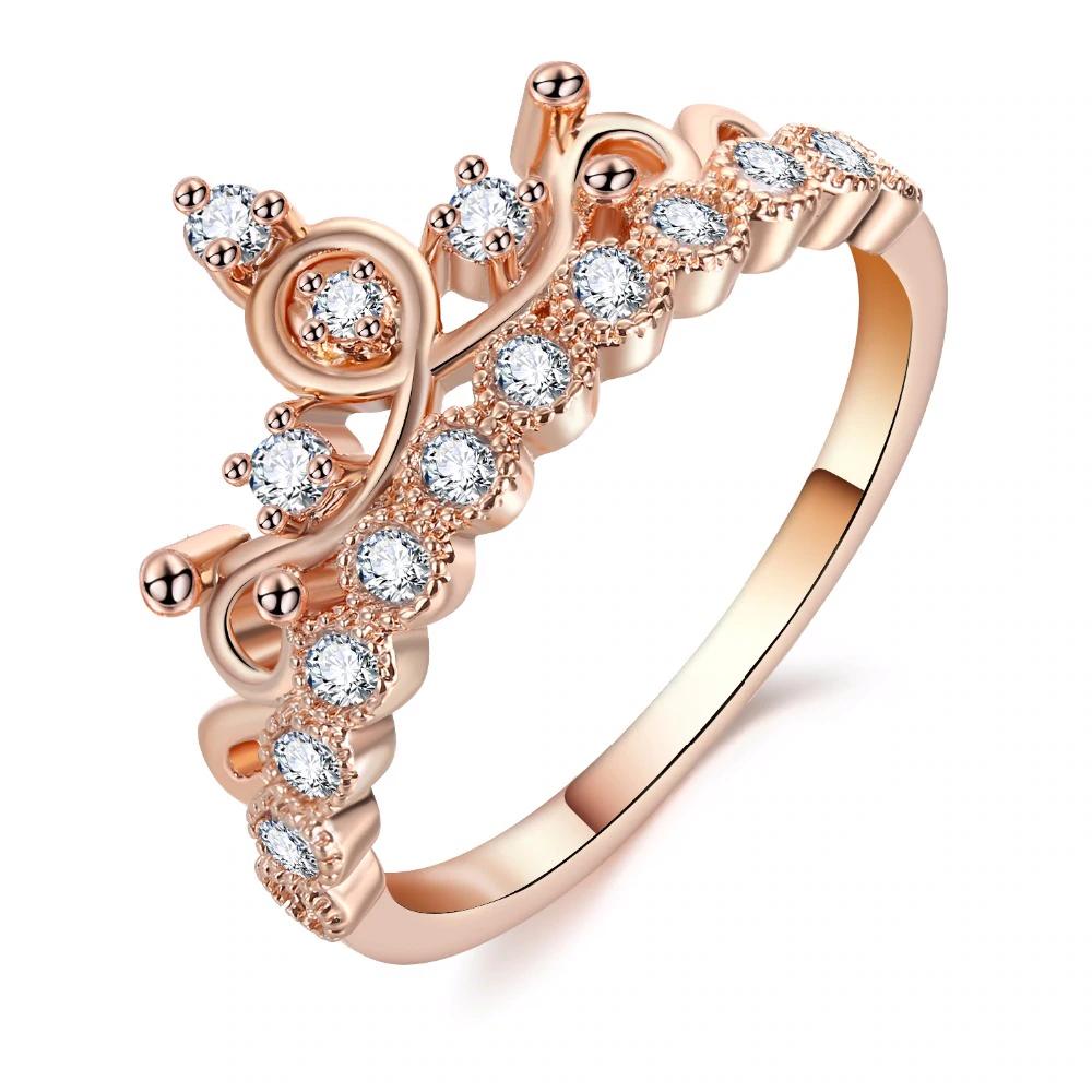 Fashion Luxury Crown Ring Statement Women Wedding Zircon