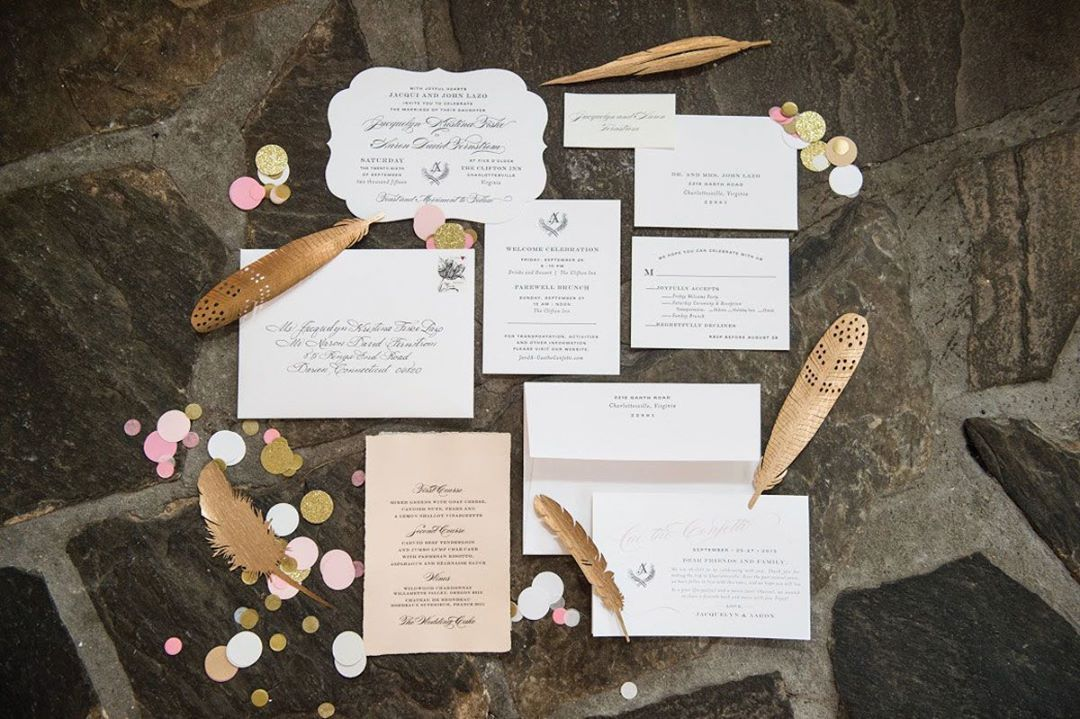 This wedding stationery from local shop Rock Paper Scissors perfectly incorporates this year's trendy colors by using gold, blush, and Rose (the Pantone color of the year) tones. Photo by Sarah Cramer Shields #wineandcountryweddings