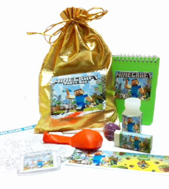 Great for the minecraft fan inside is 1 bubbles - 1 keyring - 1 bookmark - 1 balloon - 1 notepad - 1 lollipop - 1 eraser - 1 colourin,  Great