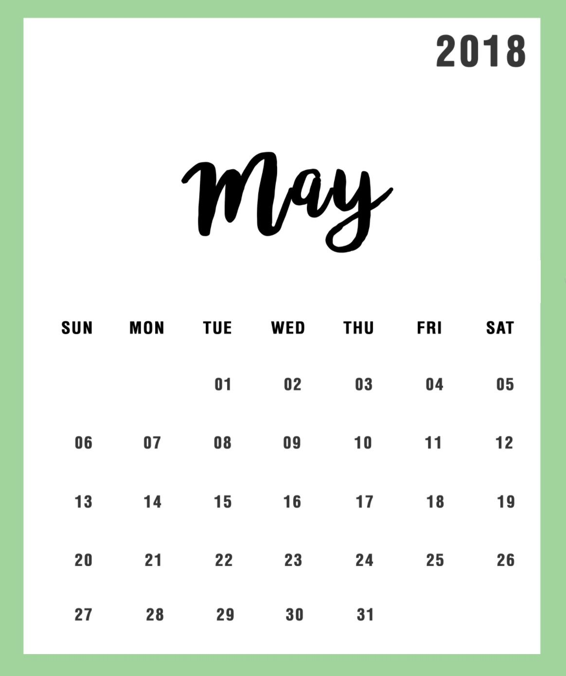 simple may 2018 calendar design