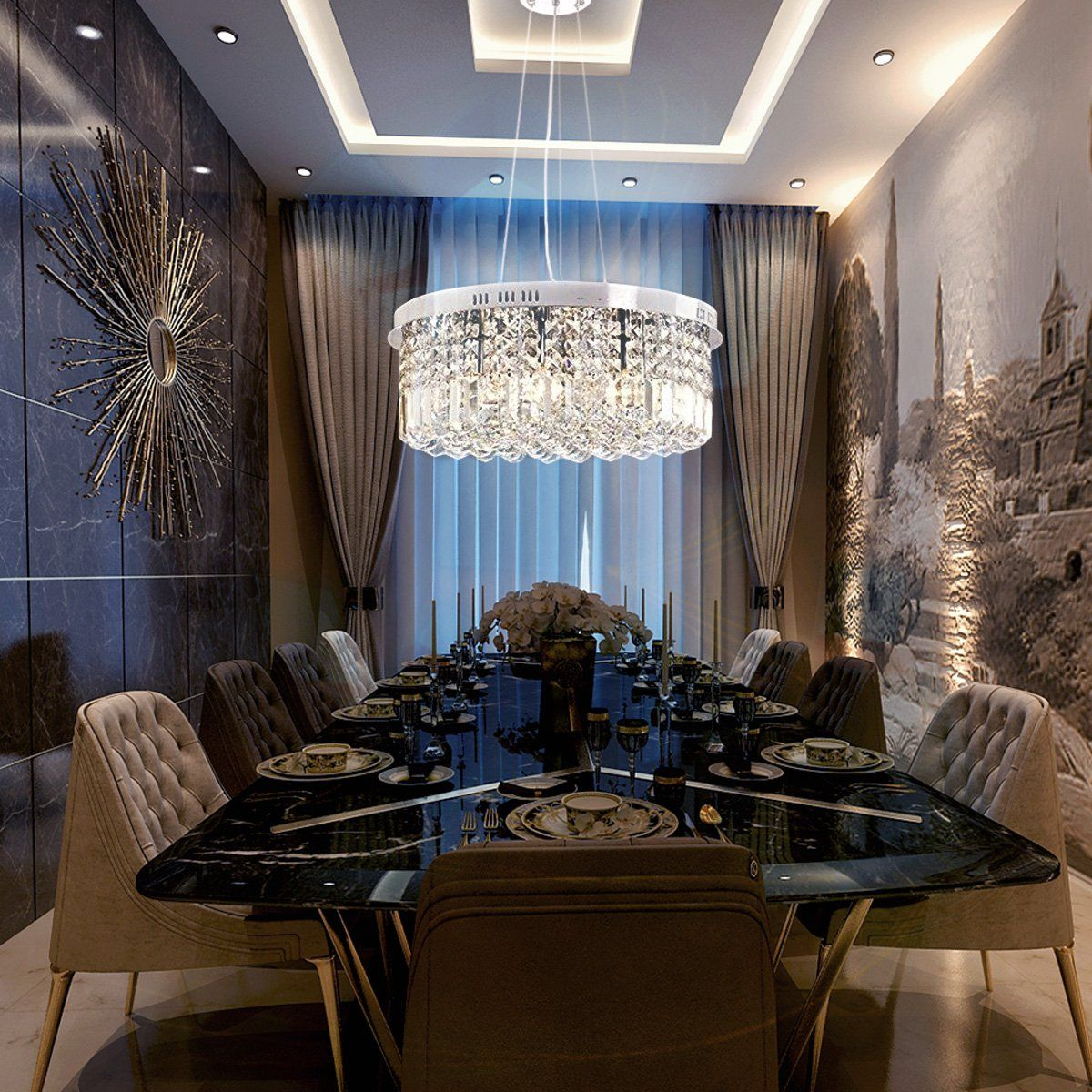 Modern Round Drum Crystal Chandelier Crystal Chandelier Dining Room Dining Room Pendant Dining Room Chandelier