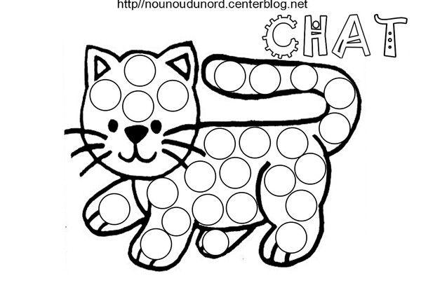 Chat Pour Gommettes Coloriage Halloween Chat Maternelle Et Gommette