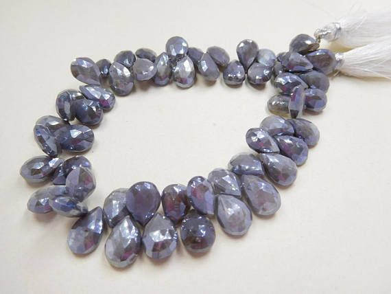 125Cts/55Beads Grey Moonstone Silver Mystic Coated Faceted Pears Ud13 Jewelry making supplies