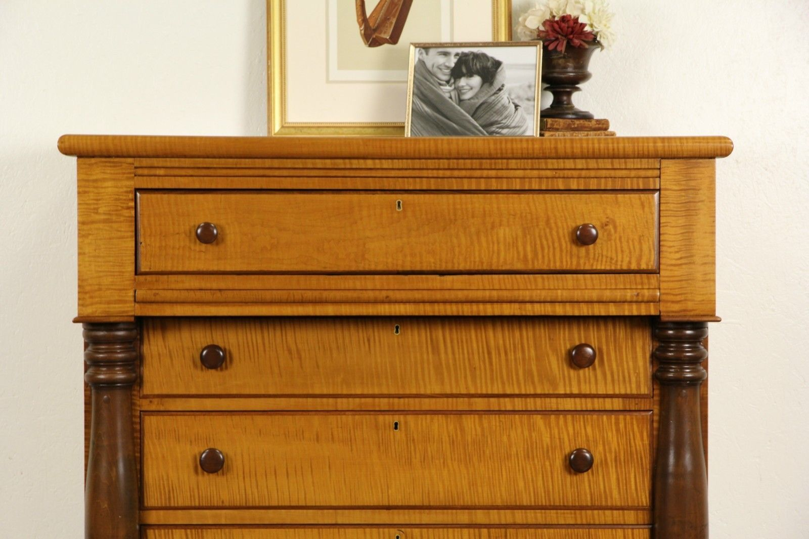 Tiger Curly Maple 1830 S American Empire Chest Or Dresser Ebay