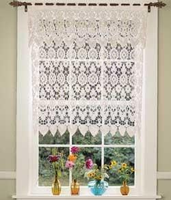 White lace Kitchen Curtain. too bad my cats would trash this ...
