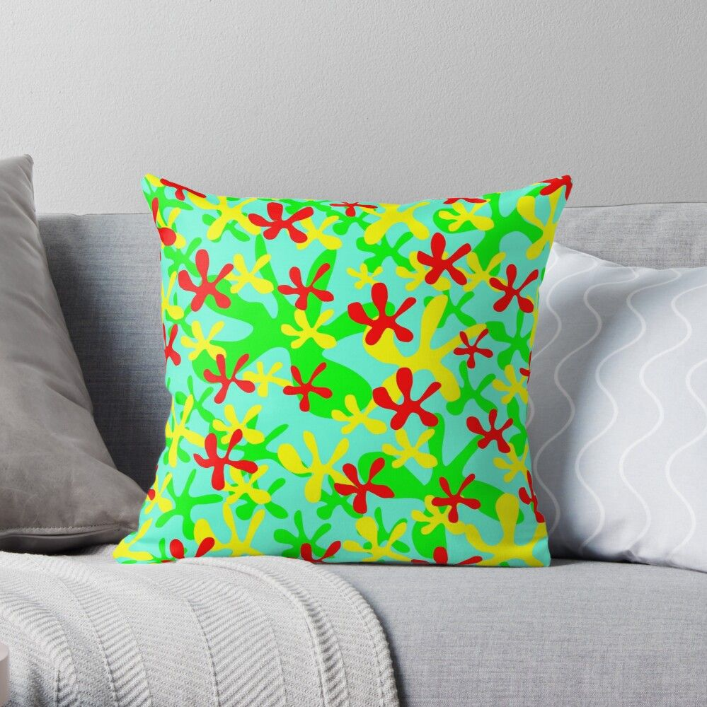 'Abstract cute fanciful funny lovely flower shapes design. ' Throw Pillow by IvyArtistic
