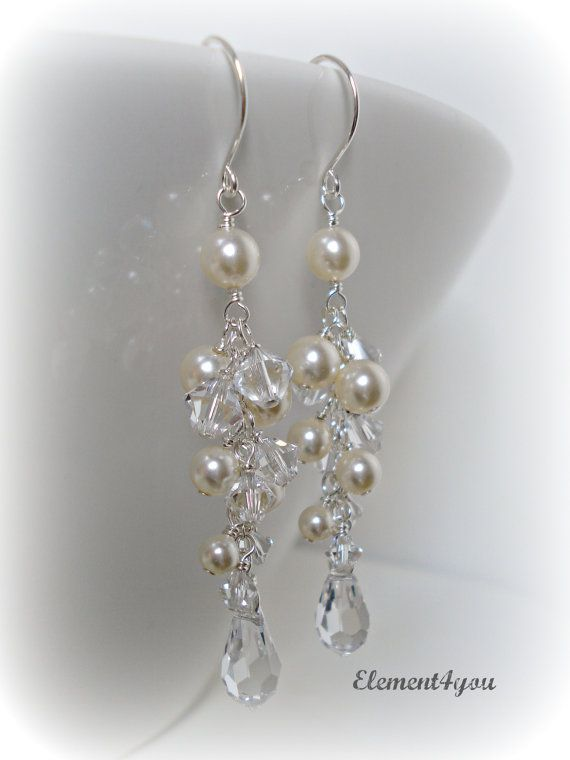 Wedding Earrings Long Pearl Crystal Bridal By Element4you 30 00