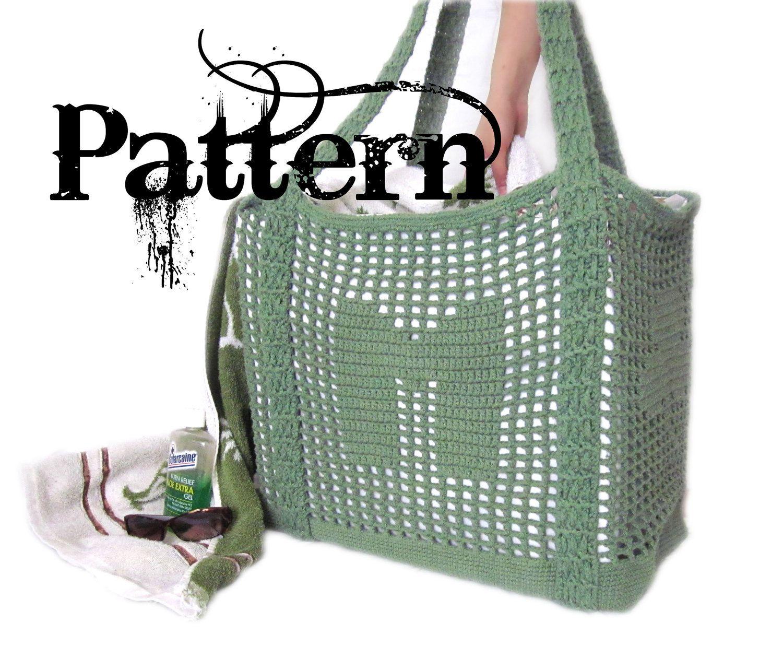 Crochet Tote Pattern - Initial Filet Crochet Bag.