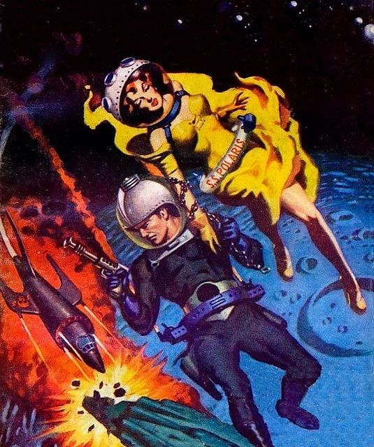 Art by Allen Anderson for Planet Stories ÷¬> Because, as we know, it just makes sense for women to wear dresses in space. Heels, too, I'm sure.