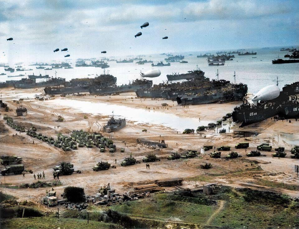 Playa de Normandia una vez conquistada 1944.