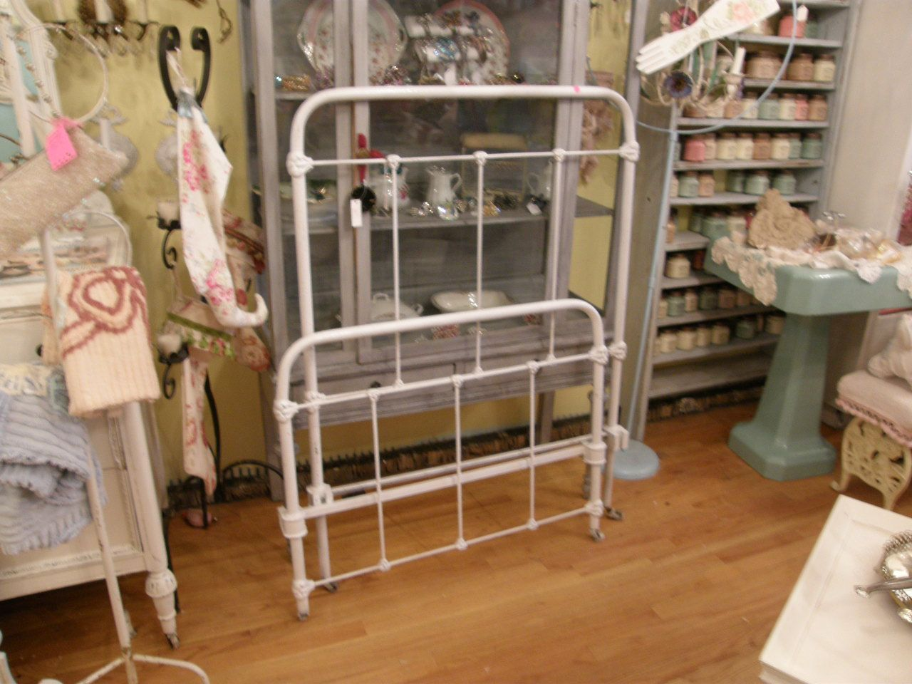 Antique Wrought Iron Bed Frame White Twin By Vintagechicfurniture