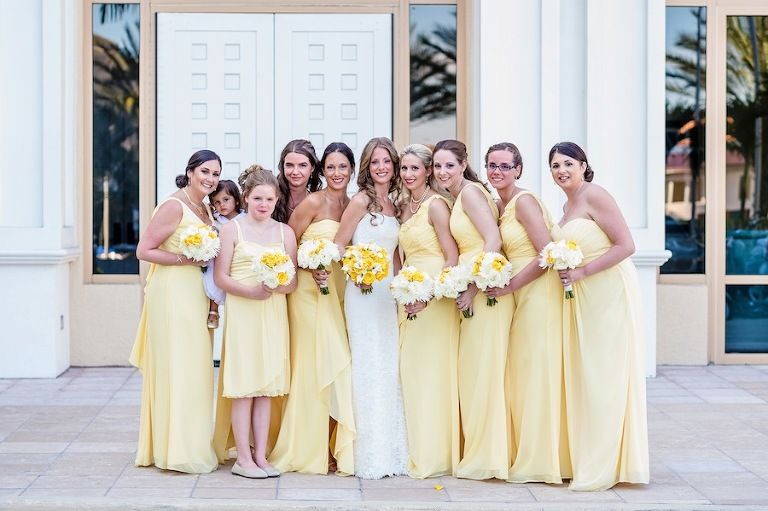 Destination Clearwater Beach Wedding Yellow And Grey Sandpearl Resort Wedding Beach Wedding Yellow Canary Yellow Weddings Yellow Bridesmaid Dresses