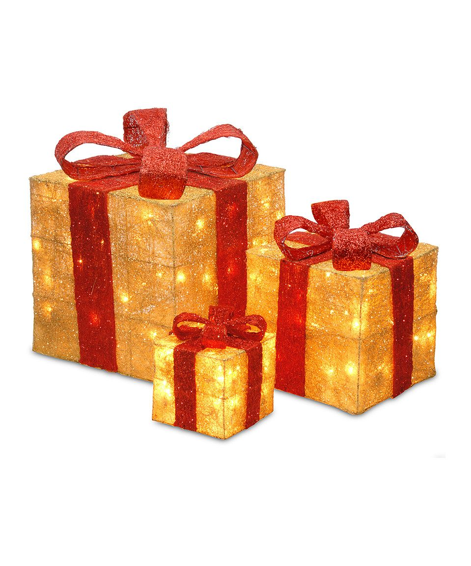red gold light up gift box set by national tree company zulilyfinds