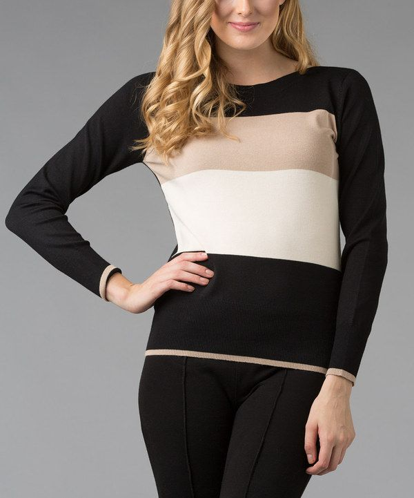 Take a look at this Carol Rose Black Color Block Long-Sleeve Top on zulily today!
