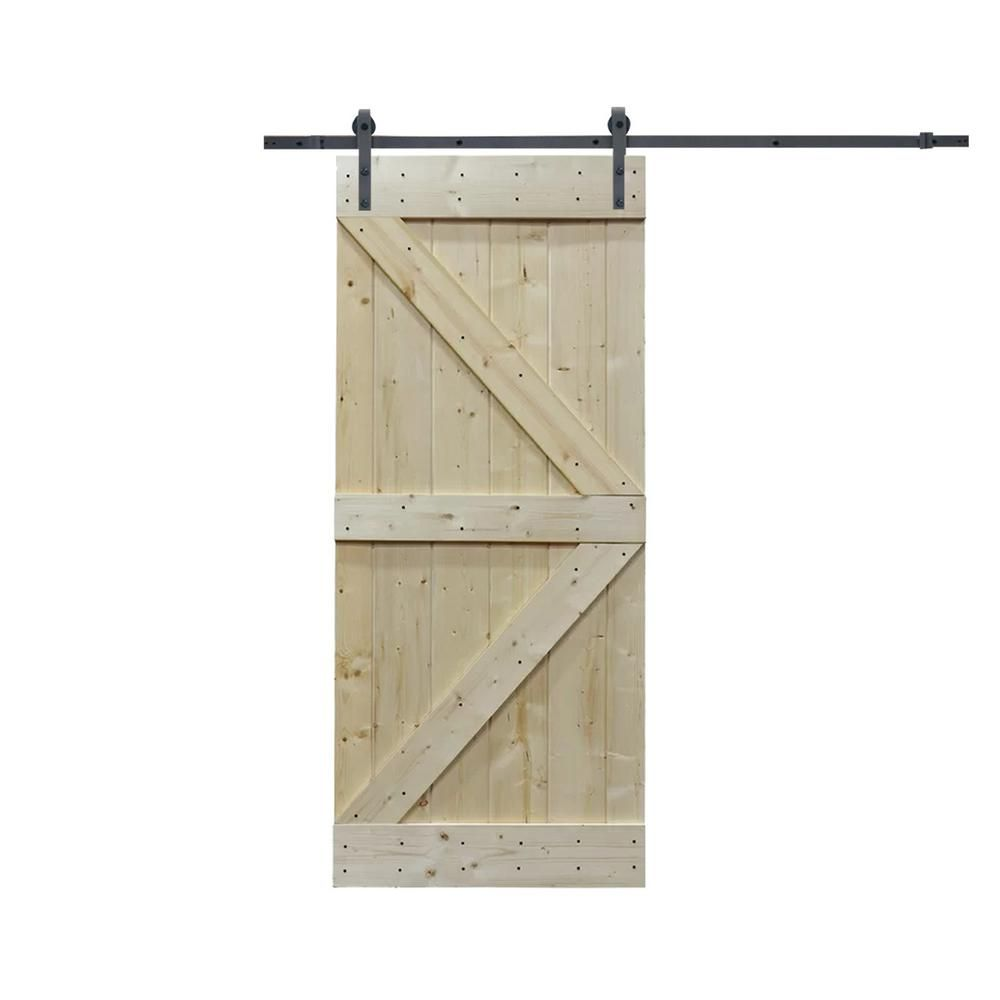 Calhome 36 In X 84 In K Design Knotty Pine Wood Barn Door With
