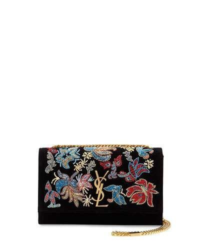 L0PE9 Saint Laurent Kate Monogram Medium Floral Chain Shoulder Bag, Black/Multi