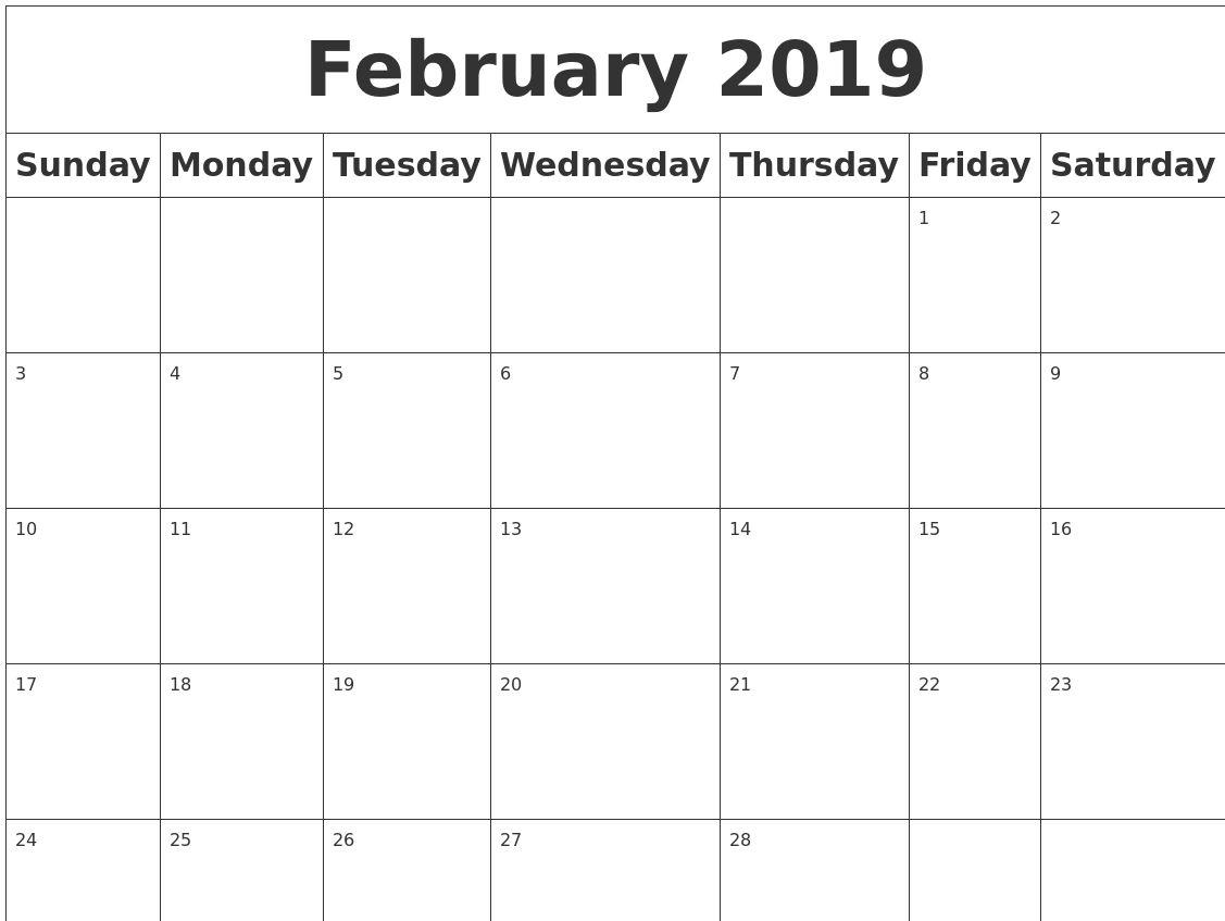 February 2019 Printable Calendar Blank Calendar 2019 Calendar