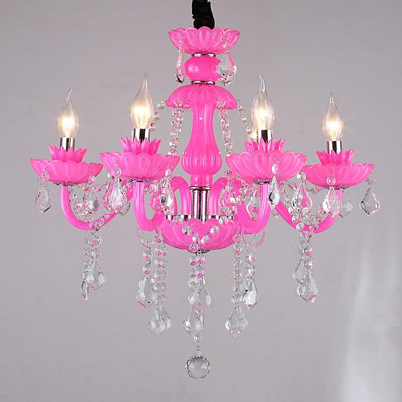 Unique European Crystal Chandelier Pink Pendant Light Princess