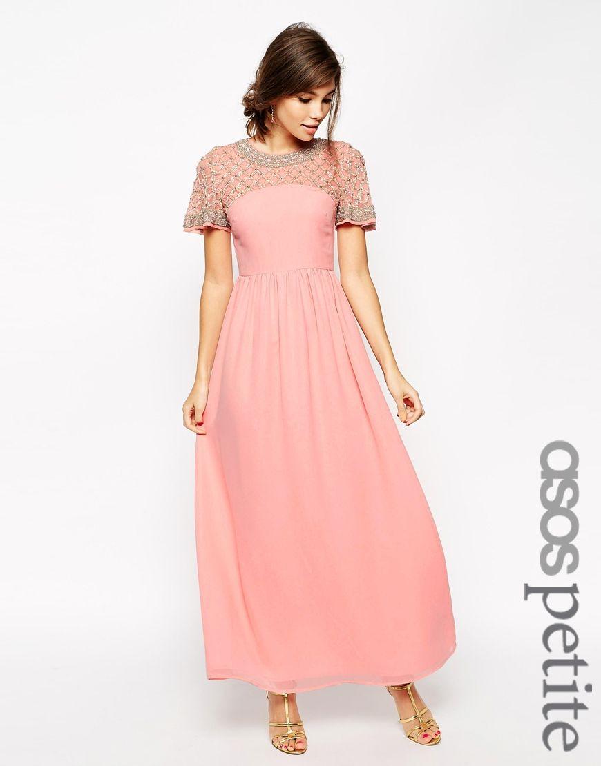 Image of asos petite lattice embellished flutter sleeve maxi dress