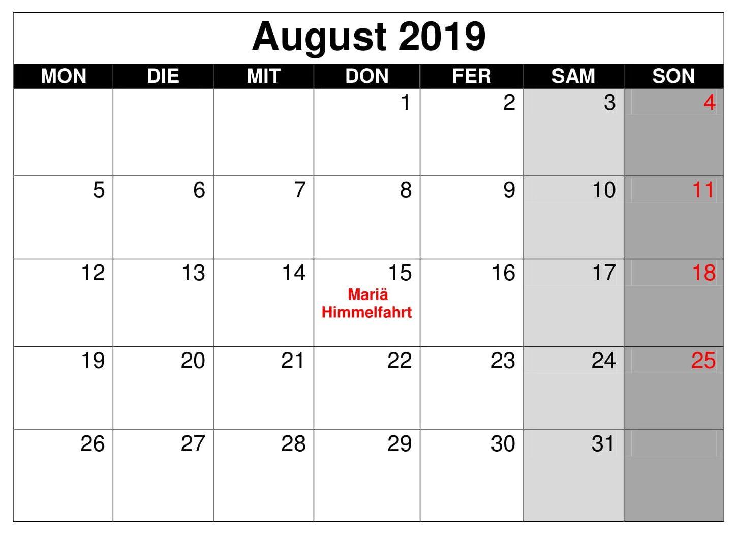 Kalender August Mit Feiertagen 2019 Word Kalender August August