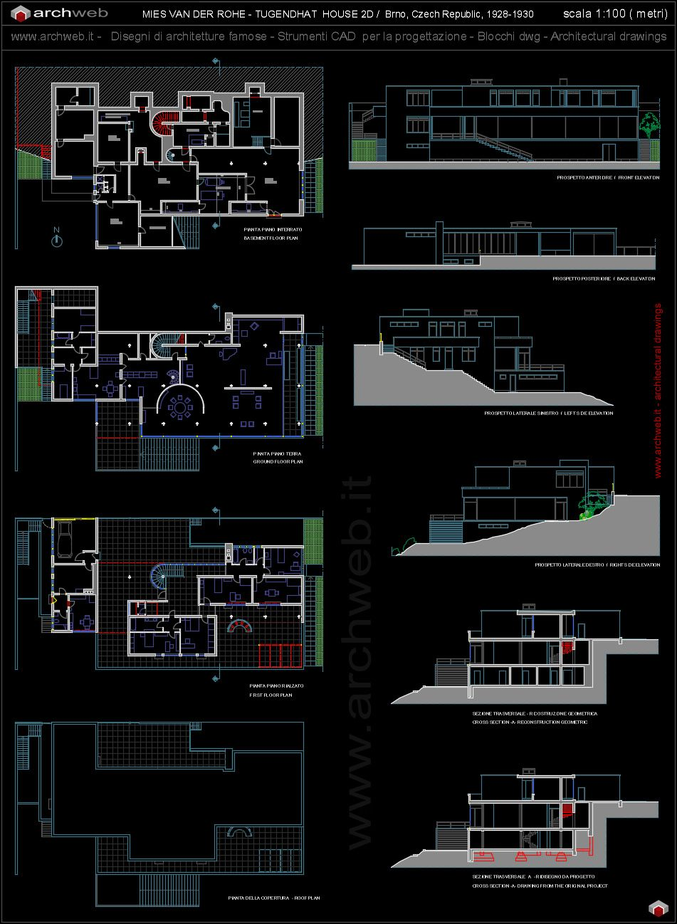 Tugendhat House Autocad Dwg Pinteres  # Muebles Mies Van Der Rohe Autocad