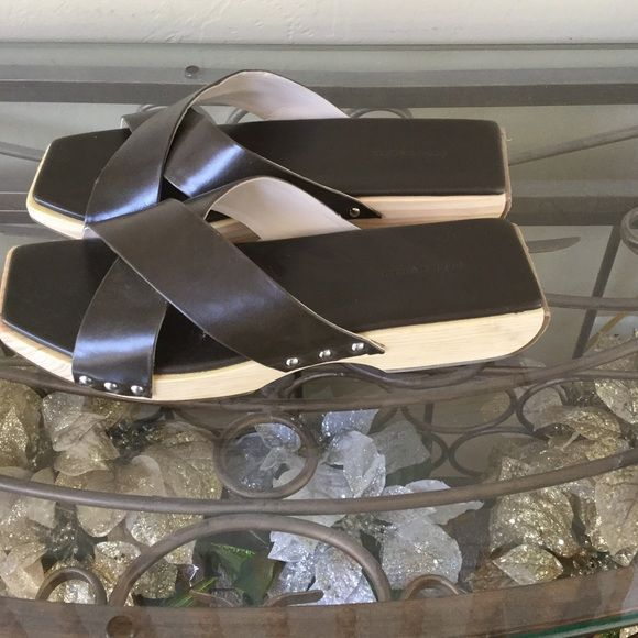 Zara Japanese Style Sandals Zara sandals has wood sole and faux leather upper.  Please ask questions before purchase. Color is kaki green. Zara Shoes Sandals