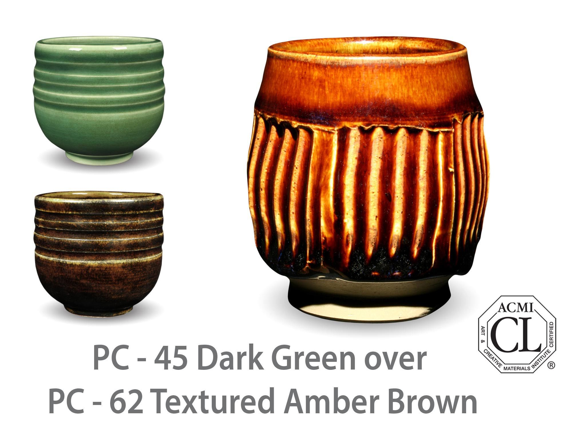 AMACO Potter's Choice layered glazes PC-62 Textured Amber Brown and PC-45 Dark Green.