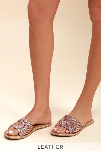 Lulus Maddie Rose Woven Leather Slide Sandal Heels - Lulus ydIINPE