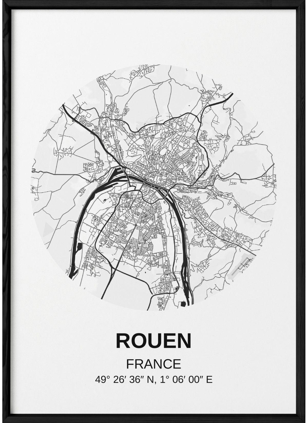 carte rouen affiche ville a afficher