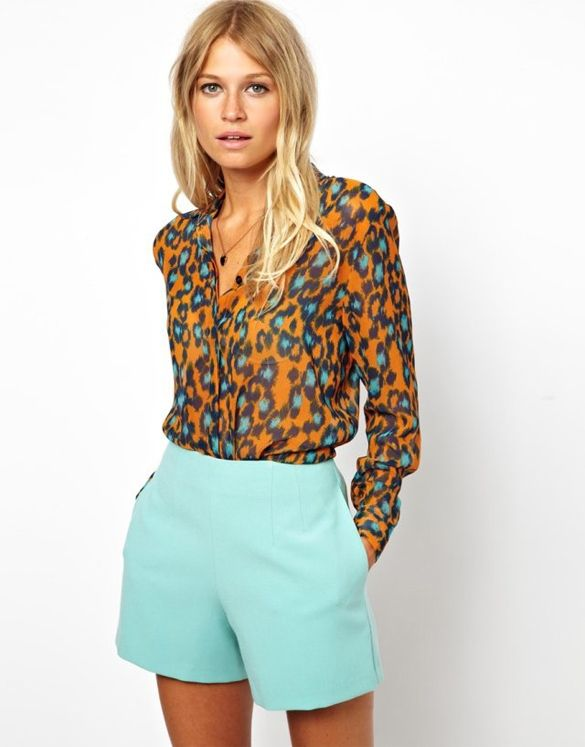 Leopard Print Long Sleeve Chiffon Blouse. Perfect for an office look!