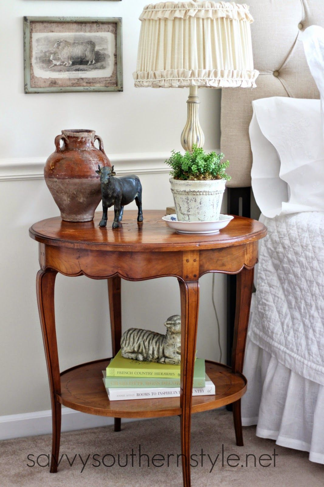 Savvy southern style french antique table in a guest room diy