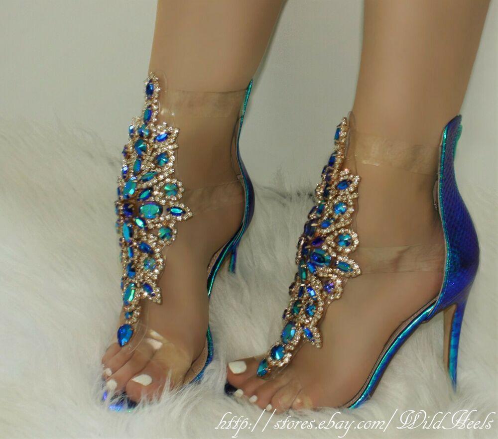 Blue iridescent gemstone decor clear straps high heel