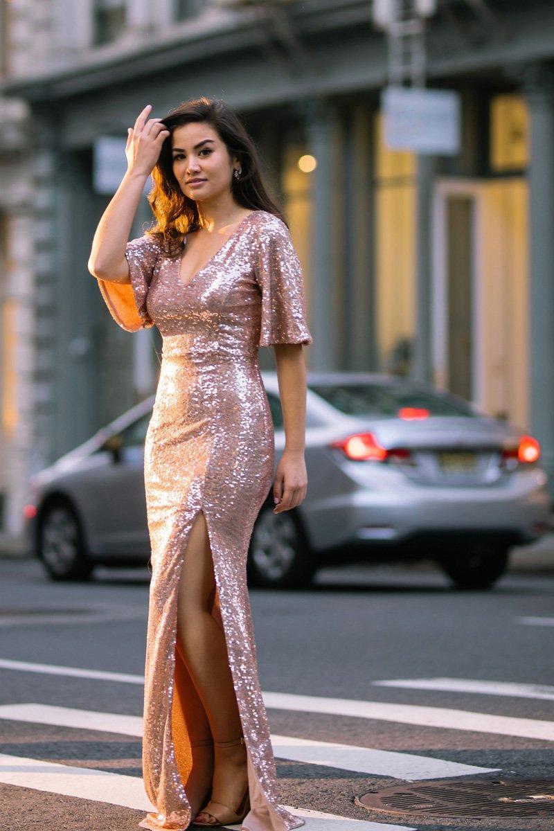 4bd79c02d505a Alessia Rose Gold Sequin Maxi Dress - Morning Lavender   dress me up ...