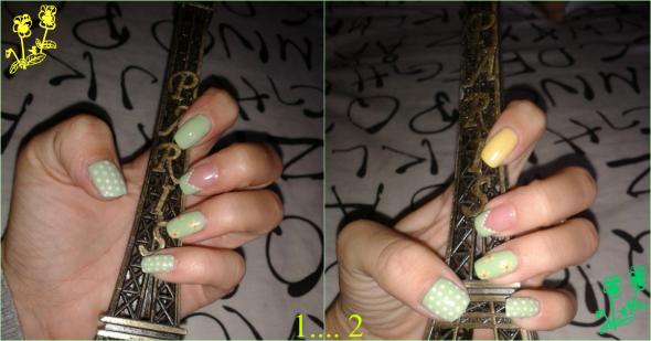 Maquilllaje de uñas verdes con motivos de topitos en verde. Se puede maquillar una uña con otro color para romper la monotonía.