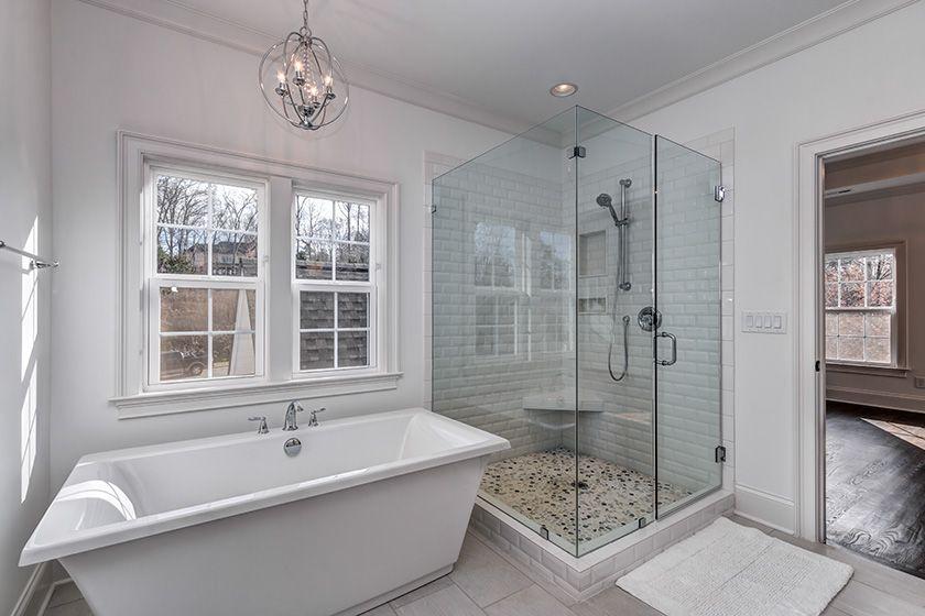 Master Bath Tile Shower Rectangle Tub Free Standing Tub Frameless Glass Shower Free Standing Tub Shower Tile Glass Shower