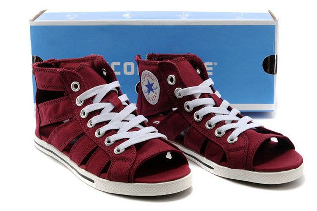 1ff348d2e15f  converse Hot Converse Peep Toes Gladiator Sandals Chuck Taylor All Star  Womens Roman Shoes Canvas Maroon High