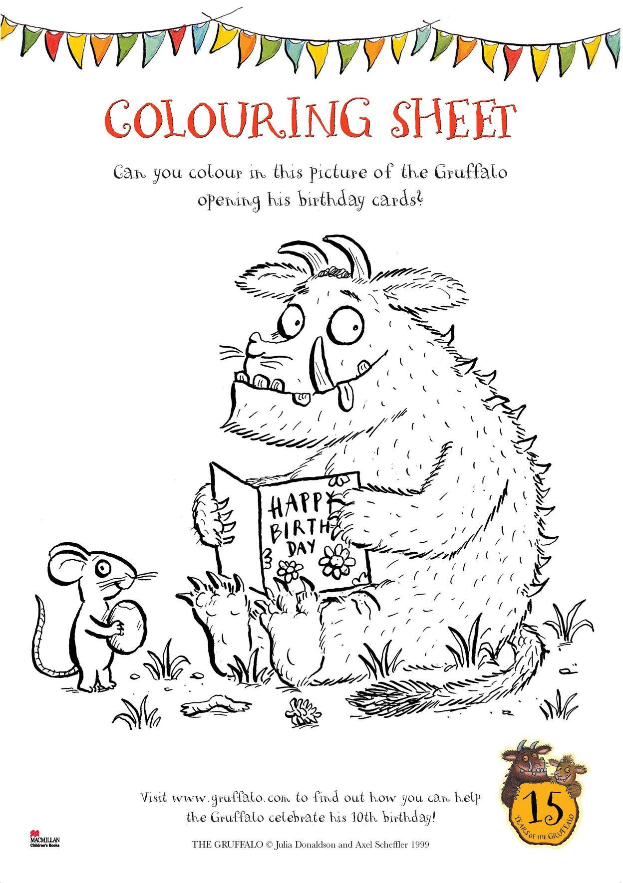 Gruffalo Birthday Colouring Sheet Scholastic Book Club Relief Teaching Ideas The Gruffalo Childrens Literature Activities