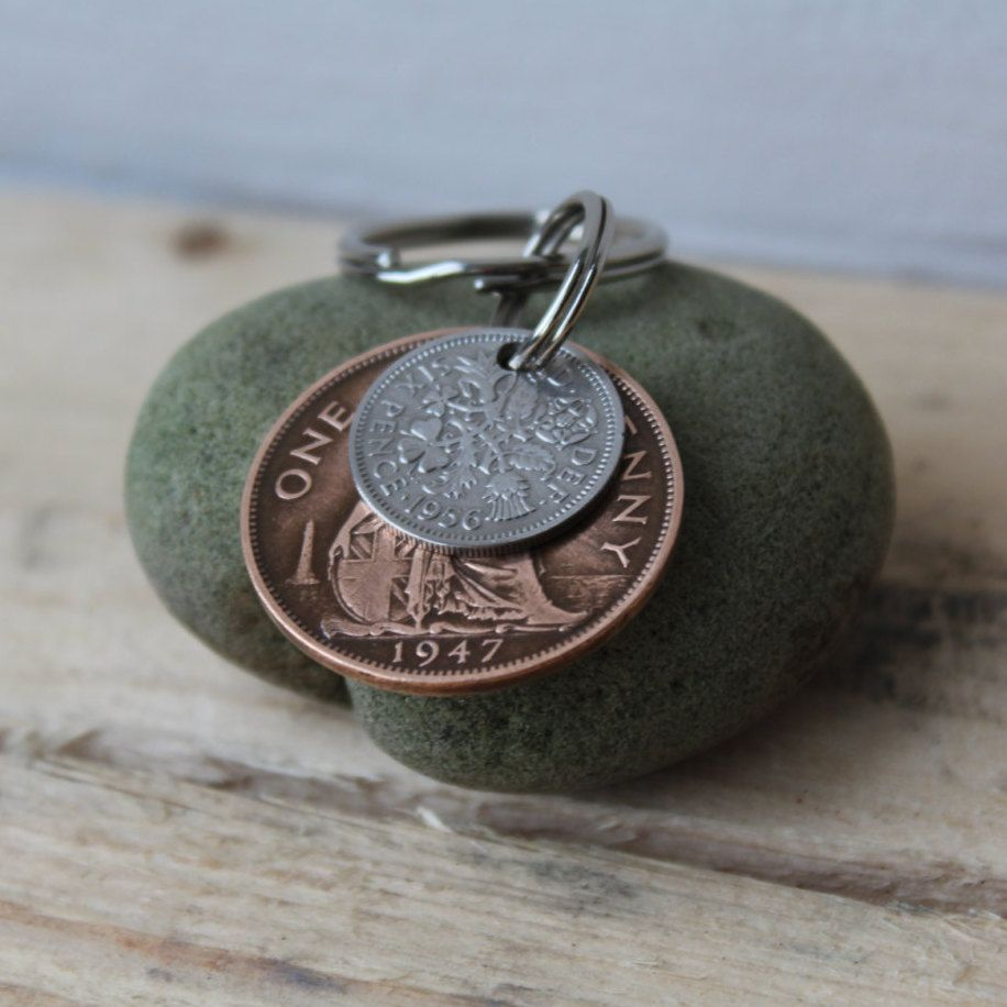 60th Birthday Gift Wedding Anniversary Handmade Key Ring Chain Vintage Coin Lucky Silver Sixpence Traditional Boho 900 GBP By