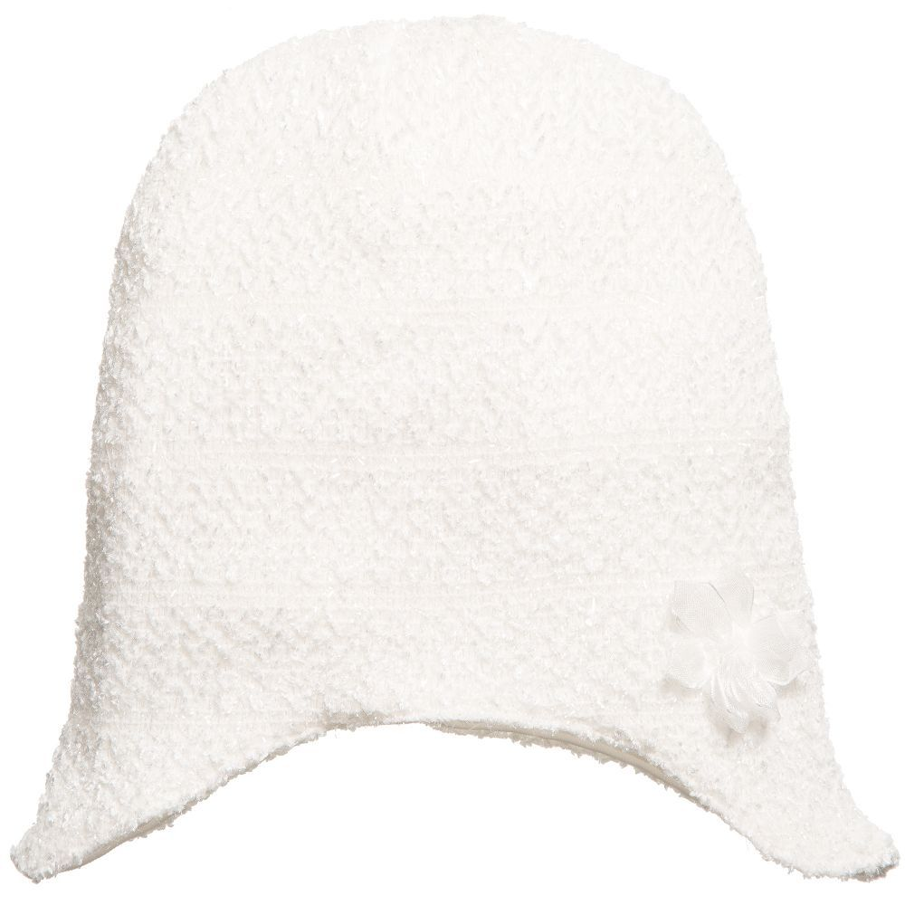 fbb7b6be9c36 Baby Girls Ivory Bouclé Hat with Shimmer Thread