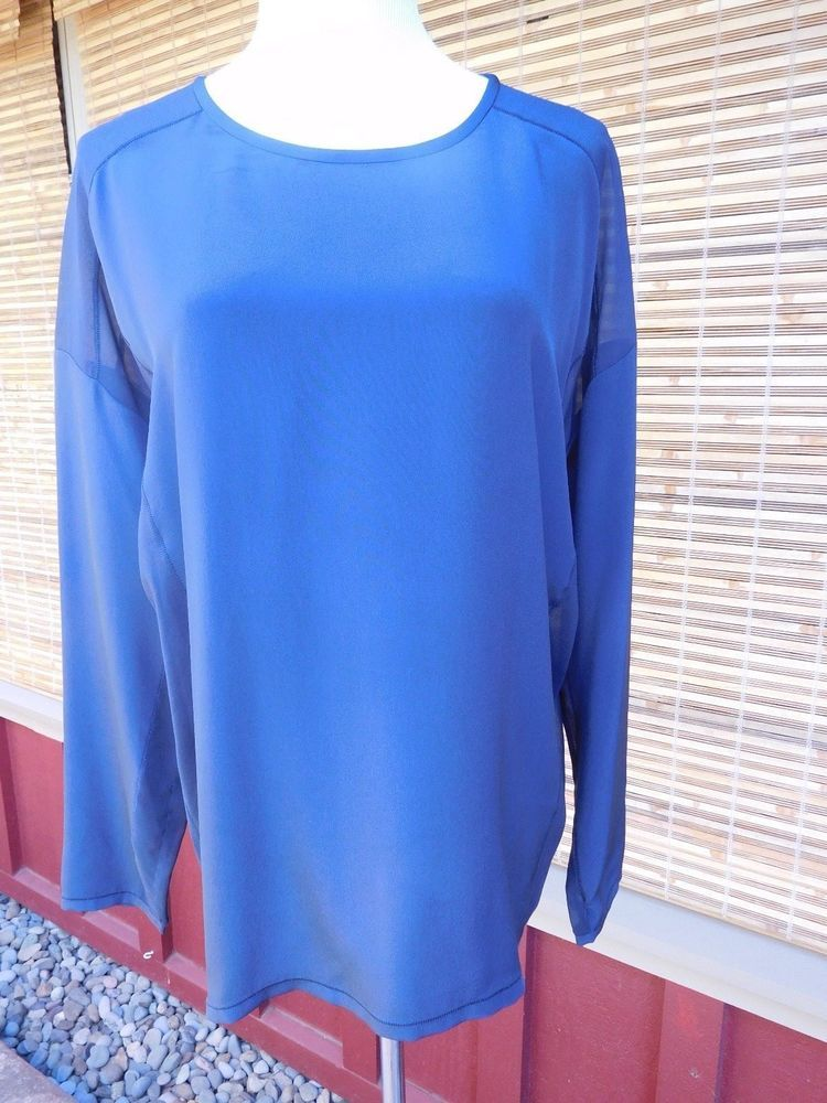 Beautiful Vince 100 Silk Charcoal Gray Blouse Top Mesh Side