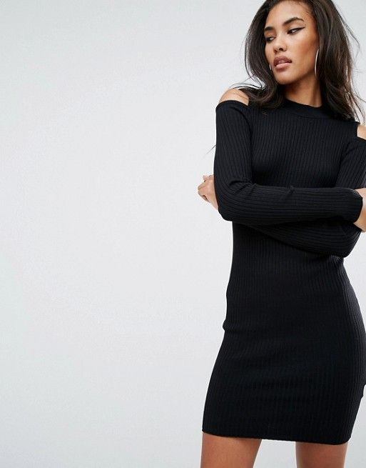 6a4ba2e13f150 River Island Cold Shoulder Sweater Dress | My Style | Dresses ...