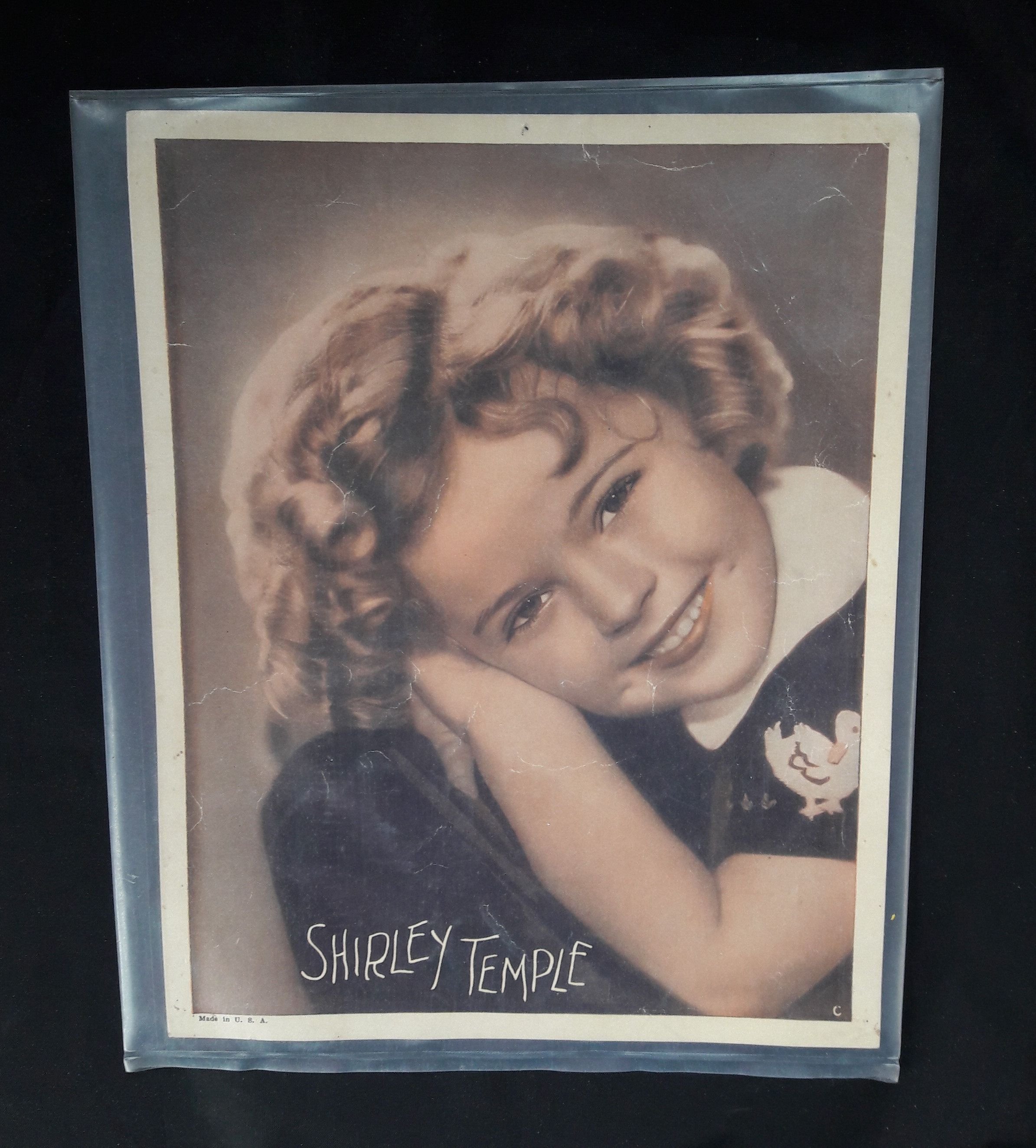 Vintage Color Photograph of Shirley Temple | Publicity Photo in a Plastic Sleeve | Golden Age of Hollywood Actress #hollywoodgoldenage