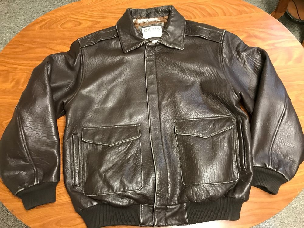 MENS ORVIS SPORTSWEAR OUTDOOR BROWN 100% LEATHER BOMBER FLIGHT ...
