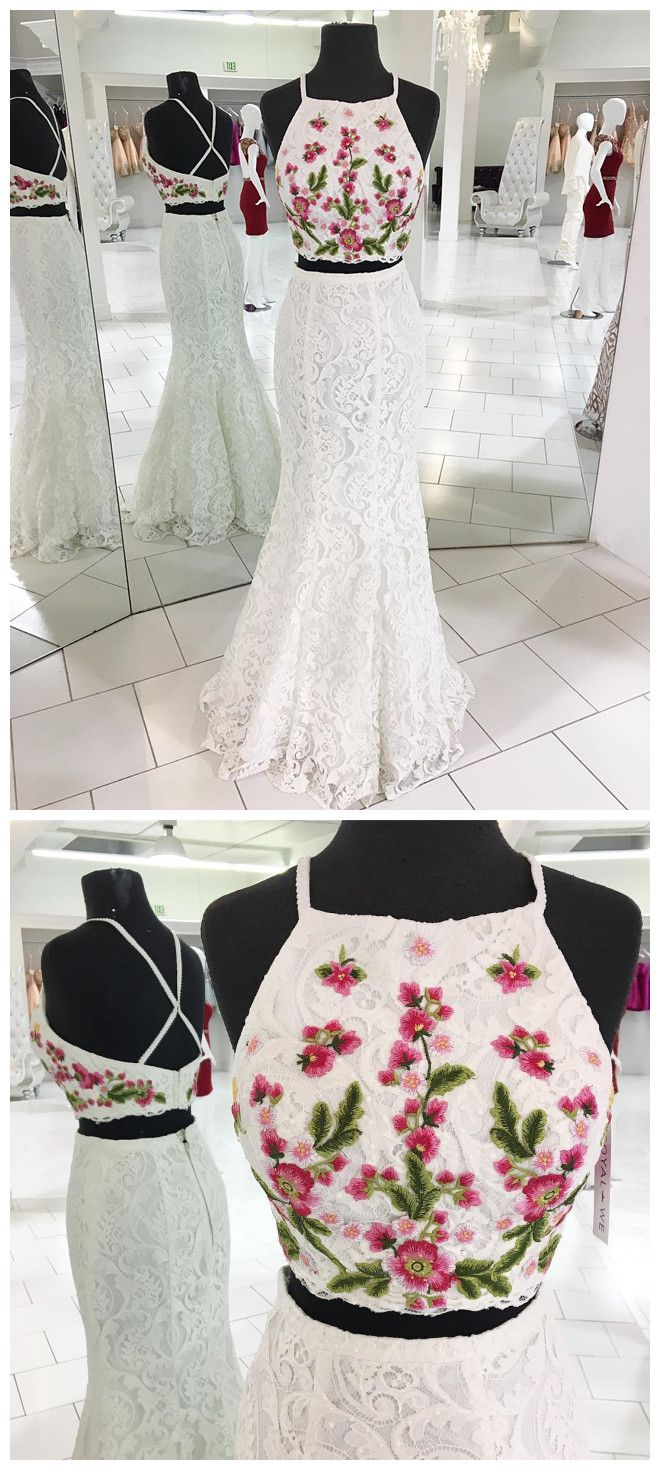 Two piece white lace mermaid long prom dress with embroidery p